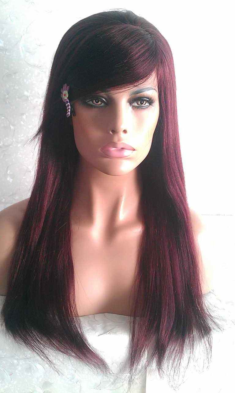 Straight 99J with Bang Lace Front Wig
