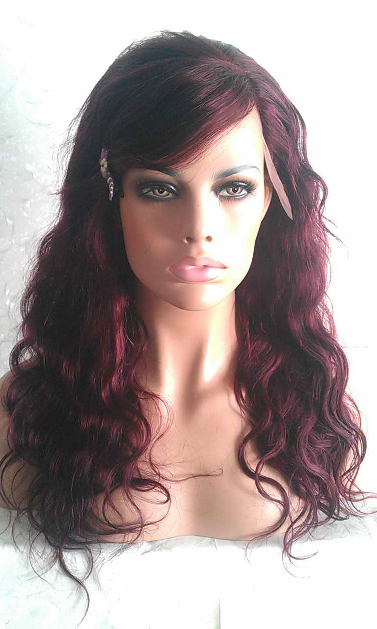 99J Lace Front Wig Body Wavy with Bang