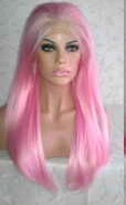 Pink Synthetic Lace Front Wig