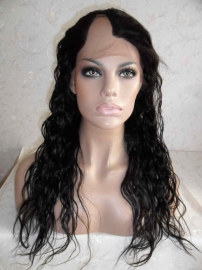 U Part Natural Wavy Lace Front Wig Color 1B