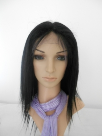 Lace Front Wig Color #1 Straight Human Hair