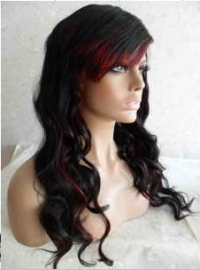 synthetic lace front wig 1b red wavy